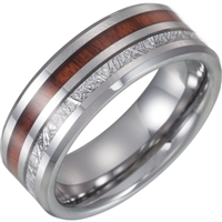 Tungsten and Meteorite Inlay with wood wedding band.