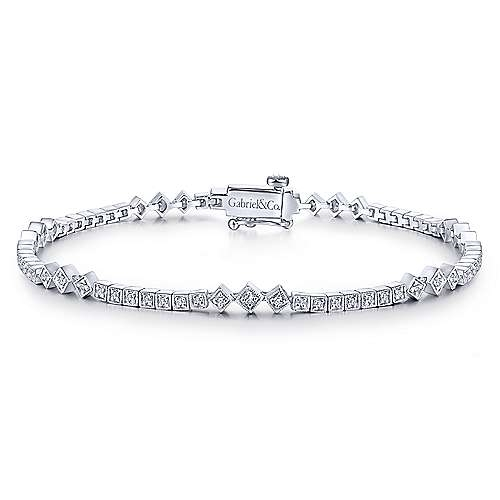 dac9d06946662 14K White Gold Vintage Style Diamond Tennis Bracelet
