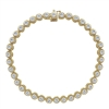 Round brilliant diamonds shimmer from within 14k yellow gold rope bezels in this diamond tennis bracelet.
