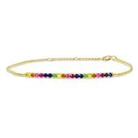 This standout multicolored bracelet in 14k yellow gold features sapphires in a rainbow of colors.
