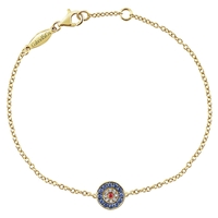 This evil eye bracelet features diamonds and sapphires with a gorgeous center ruby to ward off the bad fashion omens! All in 14k yellow gold!