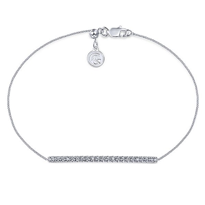 A 14k white gold diamond bar creates this tennis style bracelet.