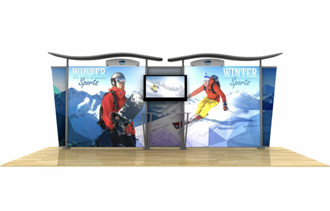 20' Hybrid Backlit Display w/ Wave Top & Tapered Fabric Sides