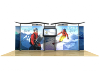 20' Hybrid Backlit Display w/ Wave Top & Straight Fabric Sides