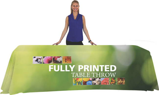 8' Fully Printed Table Throw Open Back