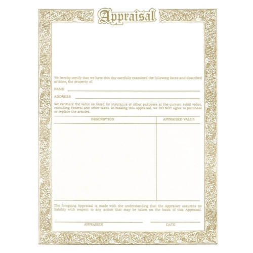 Jewellery Appraisal Form