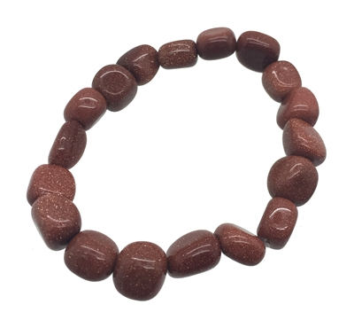 Goldstone Red Tumble Stones Elastic Bracelet 19 cm (7.5 Inches)