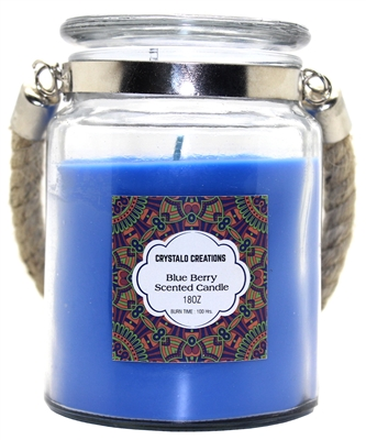 Crystalo Creations Blueberry Scented Candle with Rope Handle, 18 Ounce
