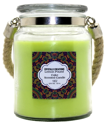 Crystalo Creations Lemon Pound Cake Scented Candle with Rope Handle, 18 Ounce