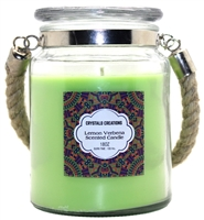 Crystalo Creations Lemon Verbena Scented Candle with Rope Handle, 18 Ounce