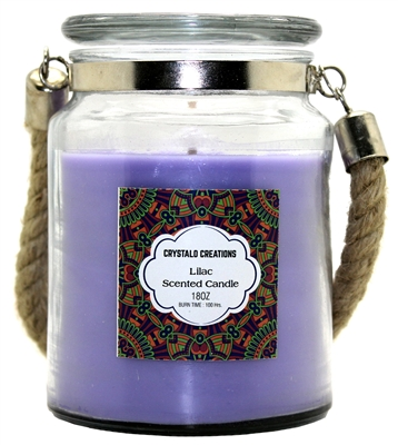 Crystalo Creations Lilac Scented Candle with Rope Handle, 18 Ounce