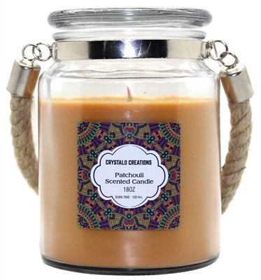 Crystalo Creations Patchouli Scented Candle with Rope Handle, 18 Ounce