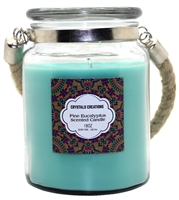 Crystalo Creations Pine Eucalyptus Scented Candle with Rope Handle, 18 Ounce