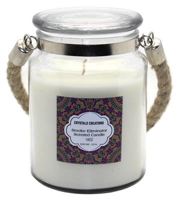 Crystalo Creations Smoke Eliminator Scented Candle with Rope Handle, 18 Ounce