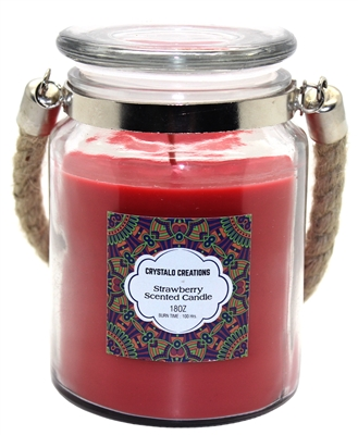 Crystalo Creations Strawberry Scented Candle with Rope Handle, 18 Ounce