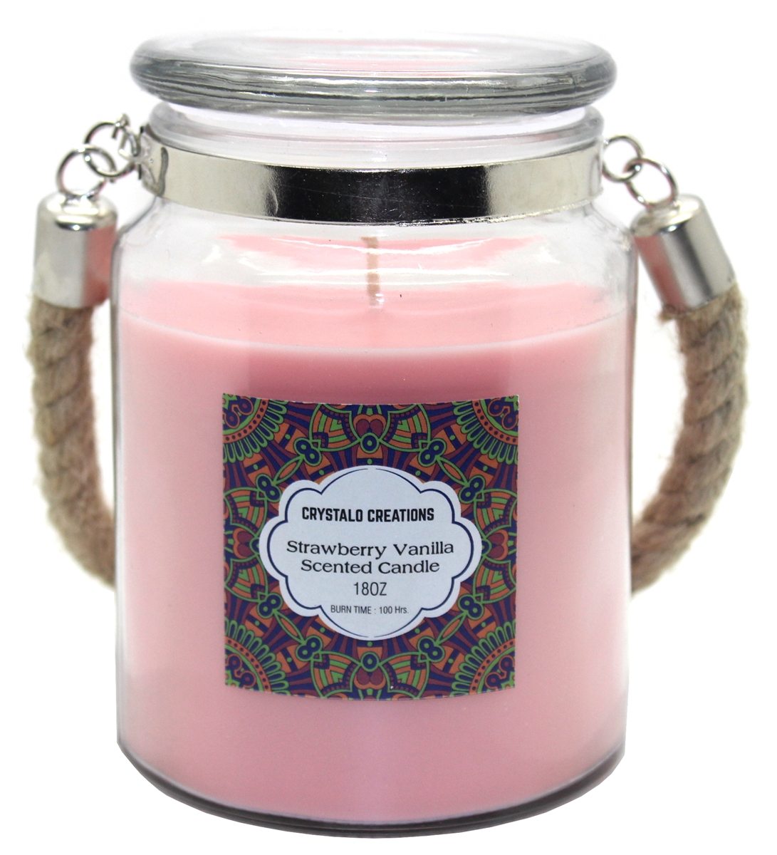 Crystalo Creations Strawberry Vanilla Scented Candle With Rope Handle 18 Ounce