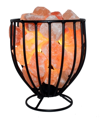 Natural Himalayan Salt Metal Basket Bowl Lamp Tall