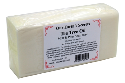 Our Earth's Secrets 2 Lbs (907 grams) TEA TREE OIL  Melt and Pour Soap Base