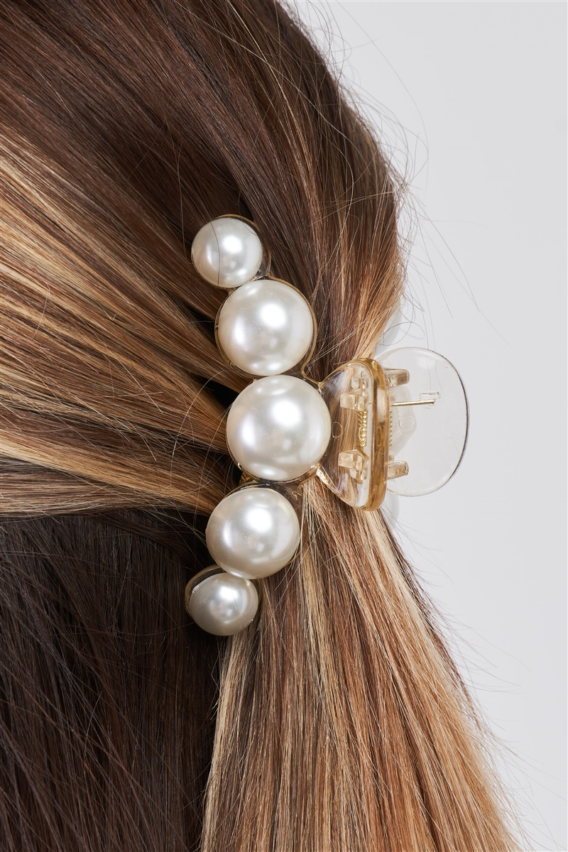 """Five Wild Pearls"" White & Pearl Small Hair Clip /3 Pieces"