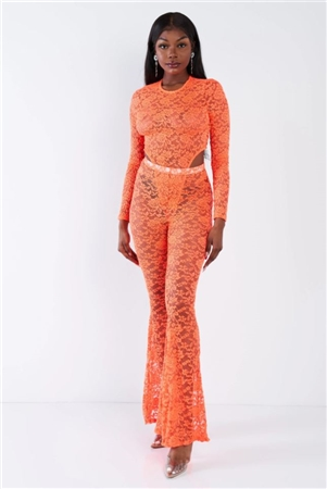 Orange Floral Lace Side Cut Out Mock Snap Bodysuit Flare Maxi Leg Jumpsuit