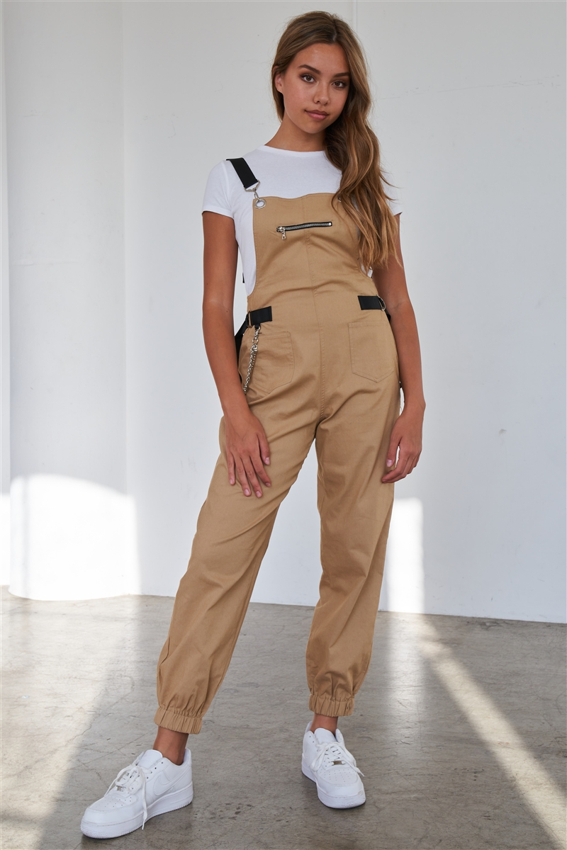 Khaki Print Zip Pocket Hardware Chained Cargo Overall Joggers