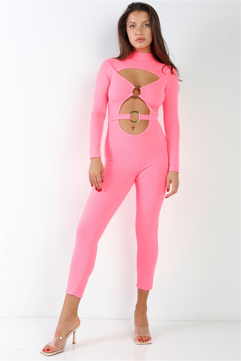 "Neon Pink Center Gold ""O"" Emblem Cut Out Ankle Length Jumpsuit"