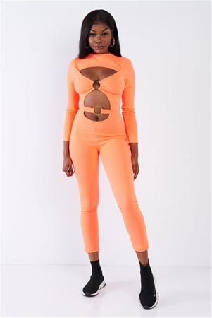 "Orange Center Gold ""O"" Emblem Cut Out Ankle Length Jumpsuit"