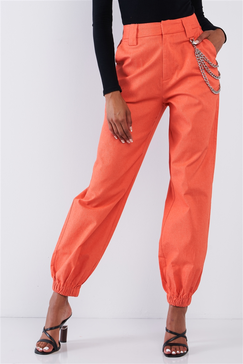 Solid Orange Parachute Cargo Jogger Pants With Chain Hardware Detail