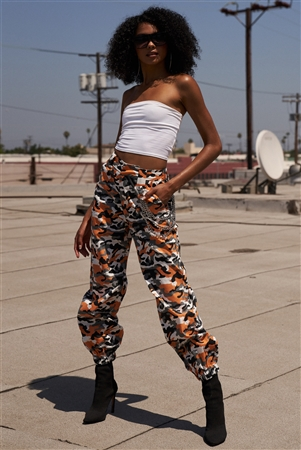 Orange Camouflage High Waisted Cargo Jogger Pants With Detachable Triple Chain Accessory