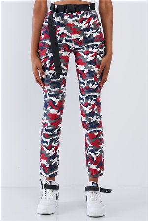 Red Camouflage High Waisted Plastic Black Side Release Belted Cargo Jogger Pants