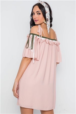 Blush Off The Shoulder Pleat Sleeves Dress