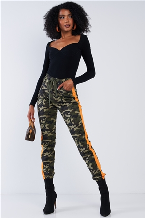 Olive Camouflage High Waisted Orange Striped Elastic Waist Draw String Cargo Pants