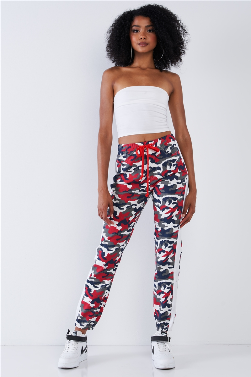 Red & Blue Camouflage High Waisted White Side Striped Elastic Waist Draw String Cargo Pants