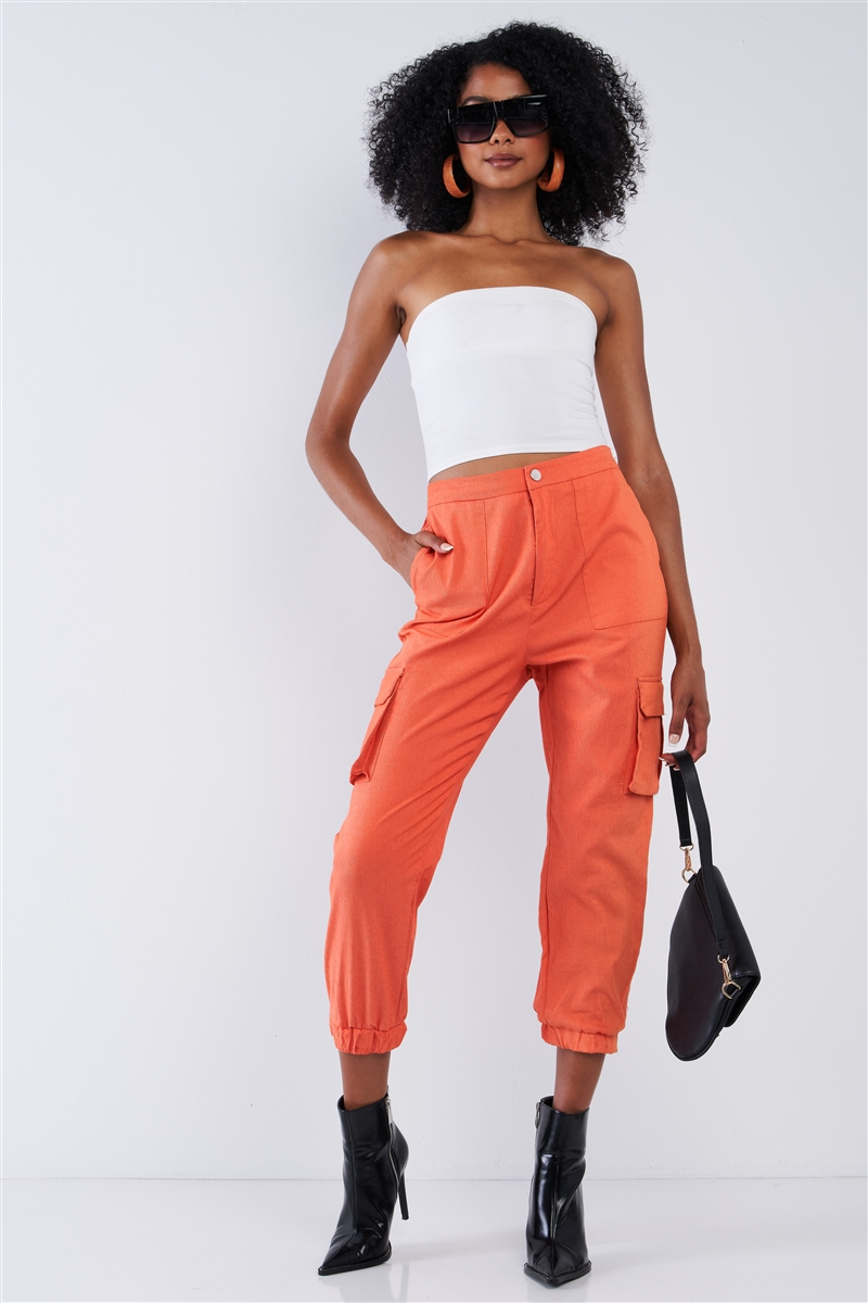 Tangerine Orange High Waisted Cargo Pocket Jogger Pants