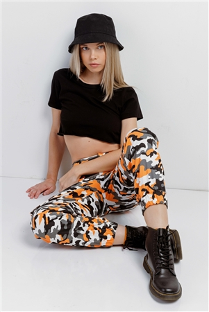 Orange & Black, White, Camouflage High Waisted Cargo Pants