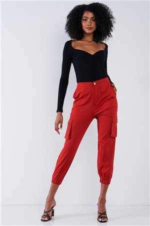 Cherry Red High Waisted Cargo Pocket Jogger Pants
