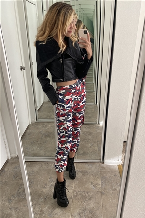 High Waisted Red & White & Blue Camouflage Cargo Jogger Pants
