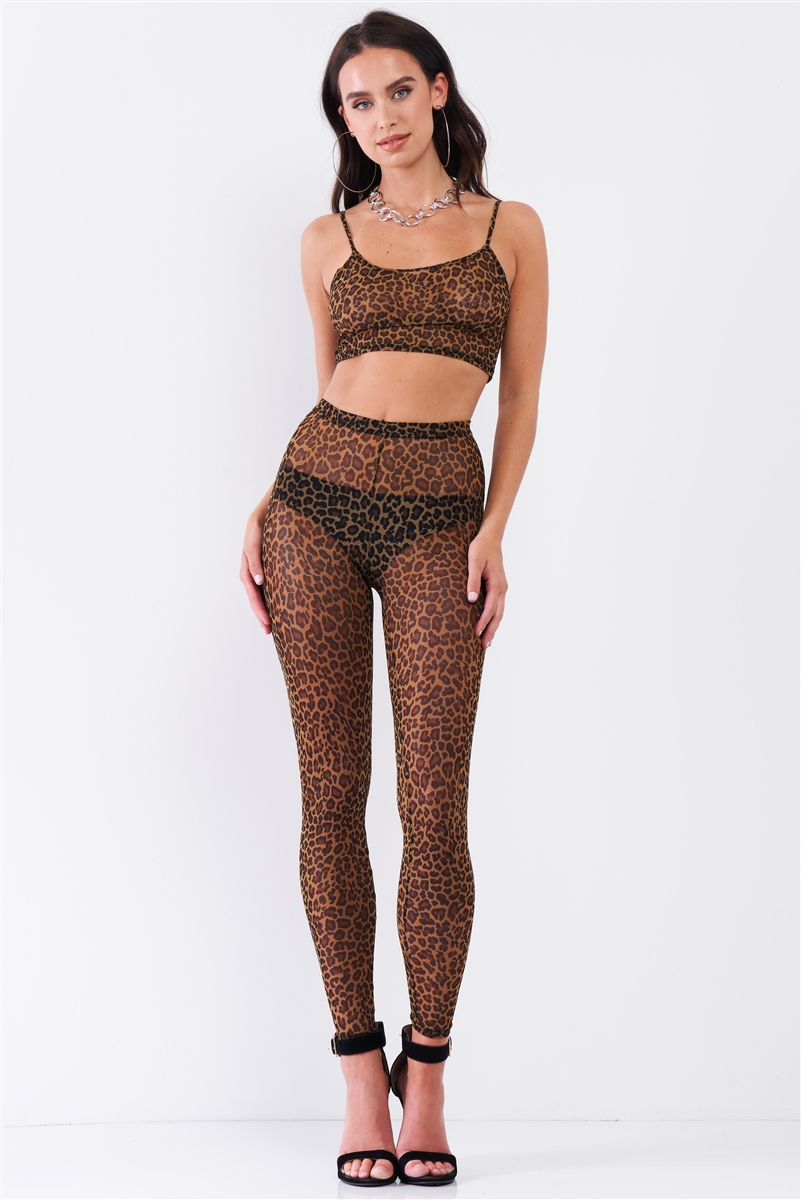 Leopard Print Sexy Sheer Mesh Sleeveless Crop Top & High Waist Legging Set /3-2
