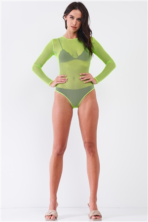 Neon Green Sexy Fine Fishnet Sheer Mesh Crew Neck Long Sleeve Bodysuit /4-2
