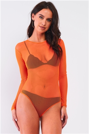 Neon Orange Sexy Fine Fishnet Sheer Mesh Crew Neck Long Sleeve Bodysuit /1-2-2-1