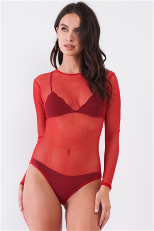 Wild Rose Red Sexy Fine Fishnet Sheer Mesh Crew Neck Long Sleeve Bodysuit /2-3-1