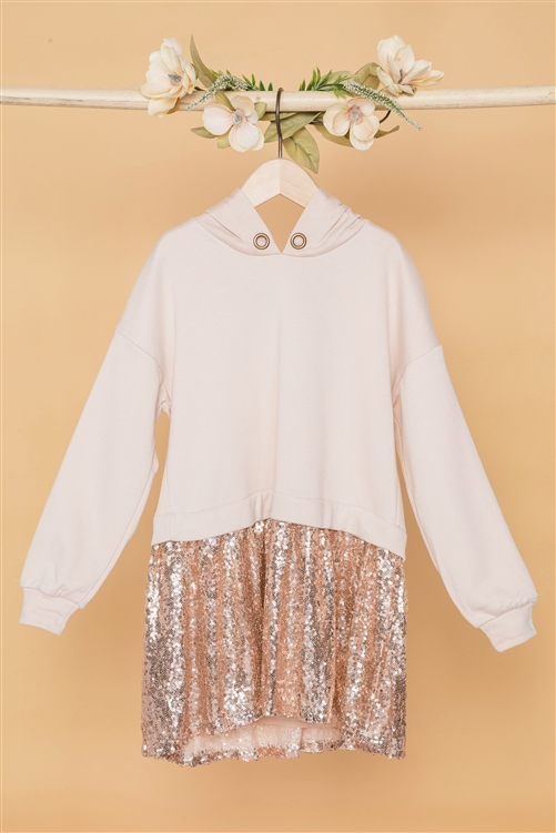 Girls Ivory Rose Gold Sequin Long Sleeve Combo Top
