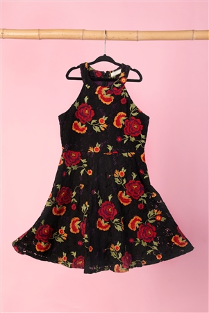 Girls Multi Black Floral Lace Embroidery Dress