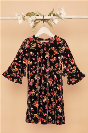 Girls Black Velvet Floral Ruffle Sleeves Dress
