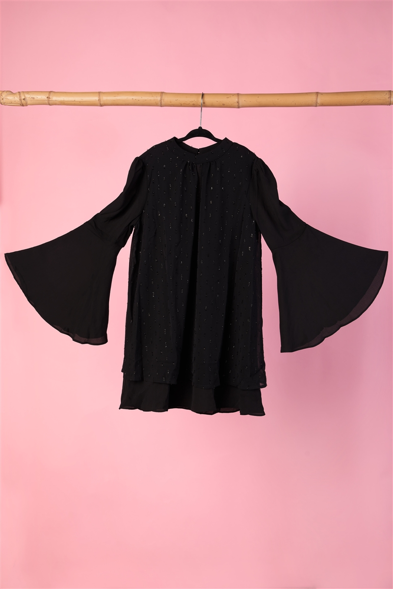 Girls Black Bell Sleeves Mock-Neck Dress