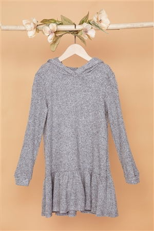 Girls Heather Grey Ribbed Soft Knit Sweater Dress