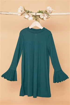 Girls Green Ribbed Long Sleeve Sweater Dress
