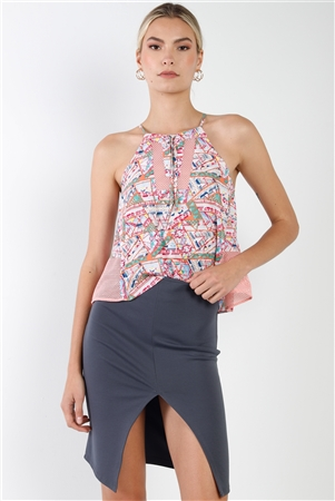Multi Pink Geometic Print Mesh Sides Top