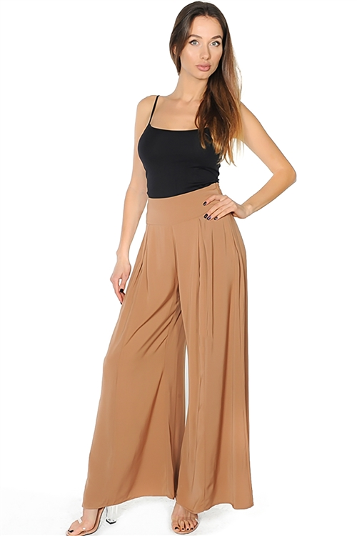 Wholesale clothing Camel High Waist Wide Leg Flare Palazzo Pants Kardashian style
