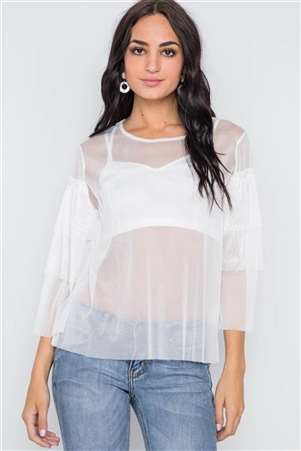White Sheer Two Piece Mash Long Sleeves Top